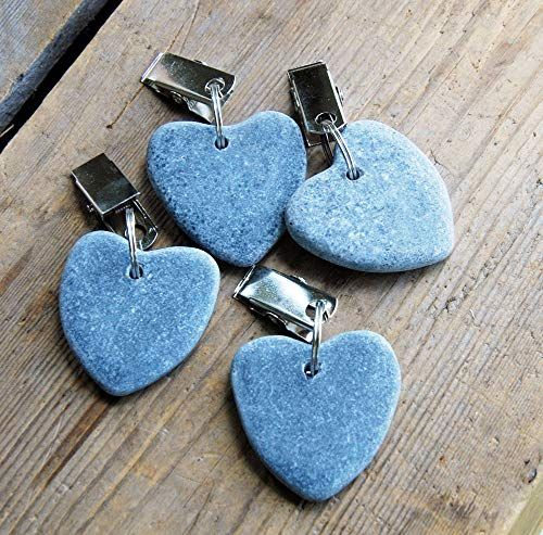 Set of four blue grey stone heart outdoor table cloth clamps
