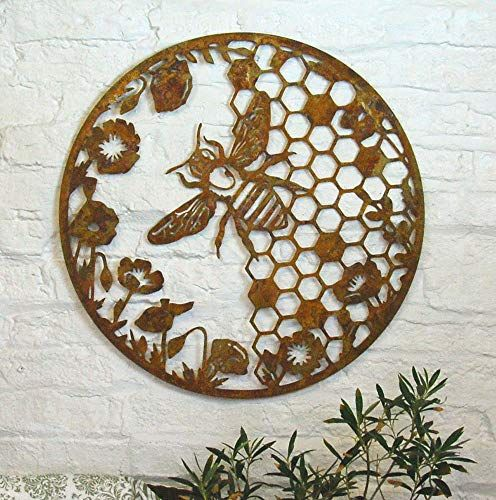 Bluebell Yard Large round rusty metal bumble bee wall art plaque