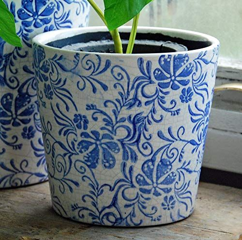 Pretty Small blue and white terracotta cache pot with crackle glaze
