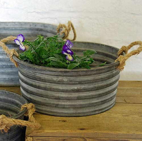 Bluebell Yard Vintage style round grey zinc planter with rope handles