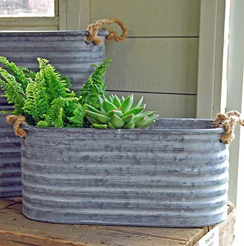 Bluebell Yard Vintage style grey zinc trough planter with rope handles